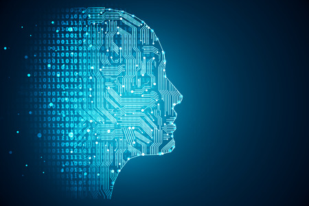 人工知能。人間頭輪郭内部の回路基板。技術と工学の概念。3 D レンダリング