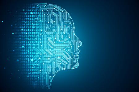 Kunstmatige intelligentie. Menselijk hoofdoverzicht met printplaat binnenkant. Technologie en techniek concept. 3D-rendering