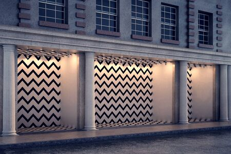 shopfront: Side view of blank zigzag patterned storefront with columns in night city. Advertising and trade concept. Mock up, 3D Rendering