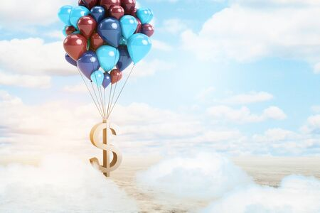 tied in: Golden dollar sign tied to balloons in bright sky with clouds. Money concept. 3D Rendering