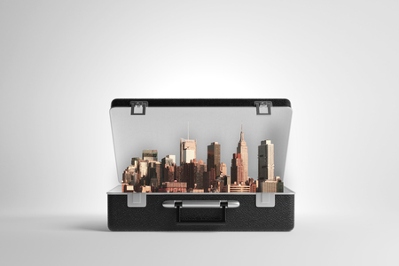 Open case with abstract cityscape on light background. 3D Rendering Stock Photo