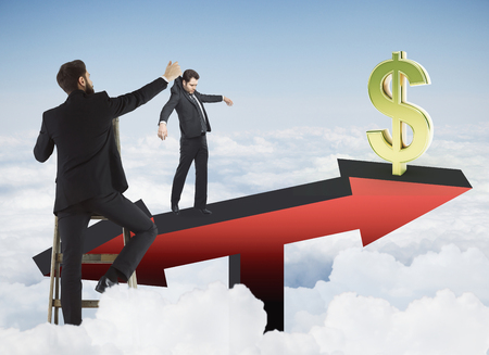 Abstract image of businessman placing subordinate on red arrow scales with golden dollar sign on sky background. Finance and puppetting concept. 3D Rendering Stock Photo