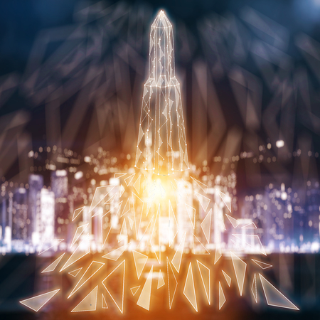 city background: Abstract glowing polygonal rocket on blurry night city background with copy space. Innovation, technology and startup concept. 3D Rendering