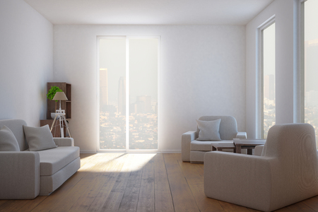 ceiling: Clean living room interior with furniture, window with city view and sunlight. 3D Rendering Stock Photo