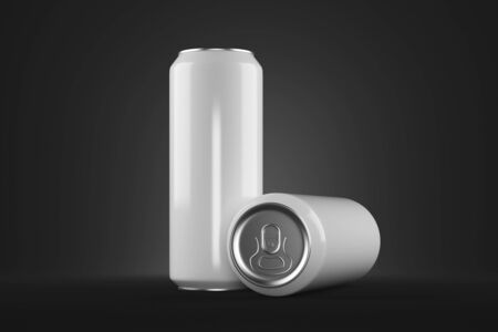 silver background: Two clear white beer cans with no logo on dark background. Ad concept. Mock up, 3D Rendering