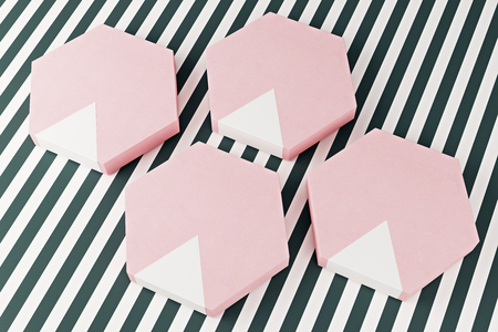 Creative pink hexagon shaped chocolate boxes on striped  background. Present concept. 3D Rendering