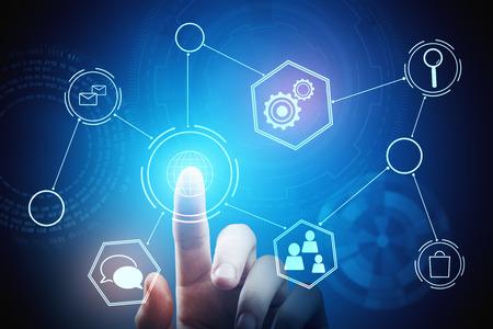 Hand die op abstracte digitale bedrijfsgrafiek richt. Technologie, innovatie, communicatie en netwerkconcept. 3D-weergave