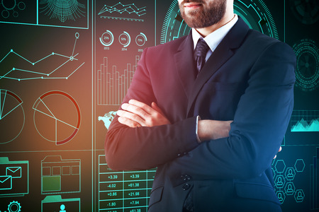 display: Businessman standing against abstract digital business wall. Technology, future and innovation concept Stock Photo
