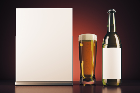 bar: Blank beer bottle, glass and poster on red background. Drink advertising and packaging concept. Mock up, 3D Rendering Stock Photo