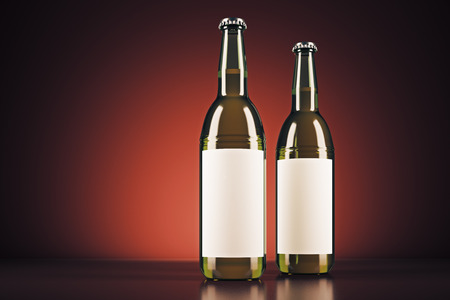 Blank beer bottles with clear logo on red background. Ad concept. Mock up, 3D Rendering Stock Photo