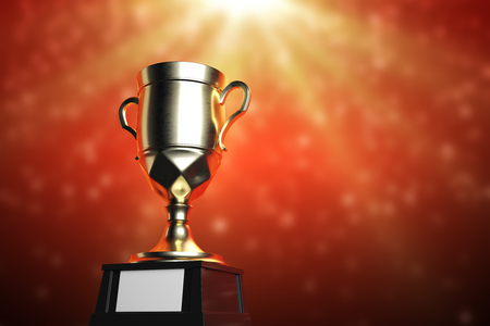 Golden winners cup with empty plate on shiny red background. Celebration concept. Mock up, 3D Rendering