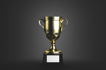Golden winners cup with empty plate on gray background. Win concept. Mock up, 3D Rendering