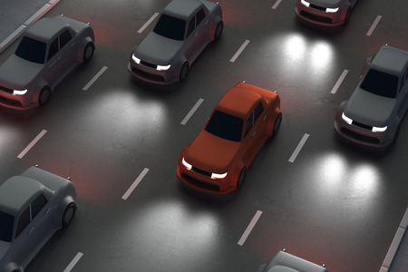 Top view of road with cars at night. Leadership and success concept. 3D Rendering