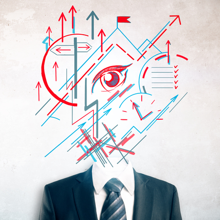 Headless businessman in suit and tie with abstract geometric vision sketch instead of head on concrete background. Mission concept photo