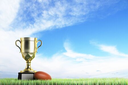 Golden winners cup with football placed on grass. Sky background with copy space. Prize concept. 3D Rendering