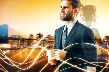 Abstract image of transparent businesswoman and businessman drinking coffee on abstract city background with digital waves. Work concept. Double exposure photo