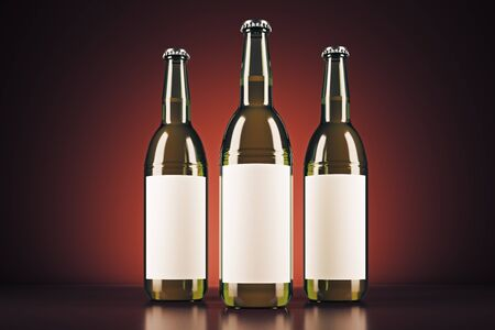 Three beer bottles with clear  on red background. Ad concept. Mock up, 3D Rendering Stock Photo