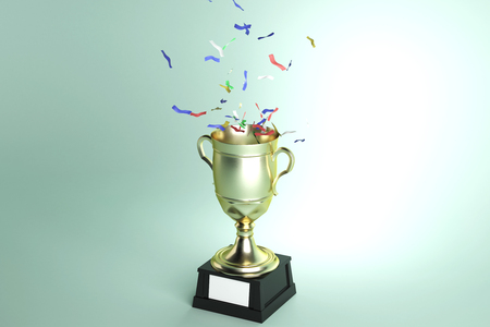 Golden winners cup with confetti on light green background. Celebration and victory concept. 3D Rendering