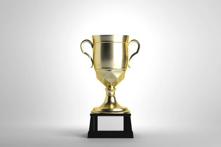 Golden winners cup with empty plate on white background. First place concept. Mock up, 3D Rendering