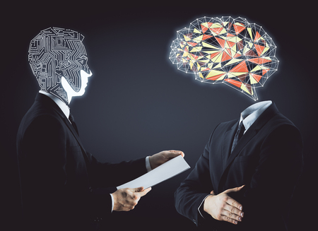 Abstract digital motherboard and polygonal brain headed businessmen on dark background. Technology and innovation concept. 3D Rendering photo