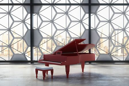 luxury room: Concrete interior with red piano and creative window frame with city view and daylight. Luxury concept. 3D Rendering