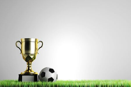 Golden winners cup with football placed on grass. Gray background with copy space. Championship concept. 3D Rendering Stock Photo
