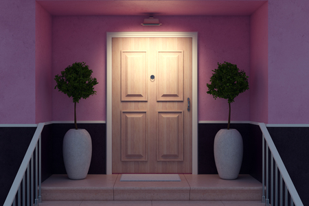 Close up of nice entrance of a cozy house with decorative trees, railing and wooden door illuminated by lamp. 3D Rendering