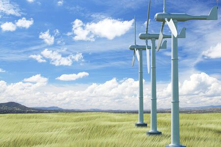 cloud: Wind mills in field with green grass and bright blue sky. Turbine concept. 3D Rendering Stock Photo