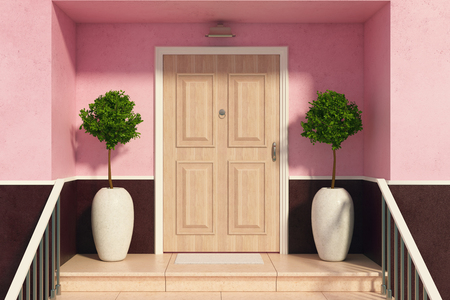 Close up of nice entrance of a cozy house with decorative trees, railing and wooden door illuminated by daylight. 3D Rendering