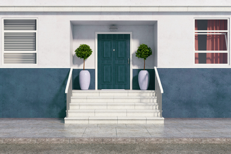Front view of building with nice entrance and stairs. Real estate, architecture, exterior concept. 3D Rendering Stock Photo