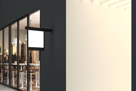 empty: Empty square stopper hanging on cafe building. Advertising concept. Mock up, 3D Rendering