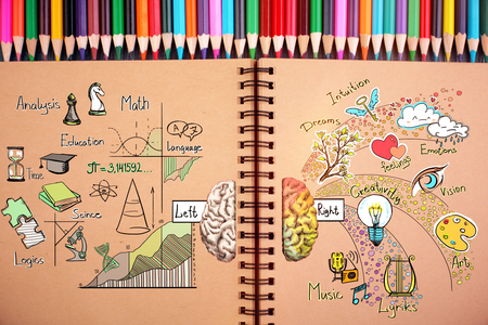 Close up of brown spiral notepad with sketch and colorful pensils. Creative and analytical thinking concept