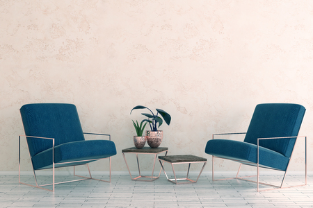rendering: Simple room interior with armchairs, decorative plant and blank copy space on wall. Mock up, 3D Rendering