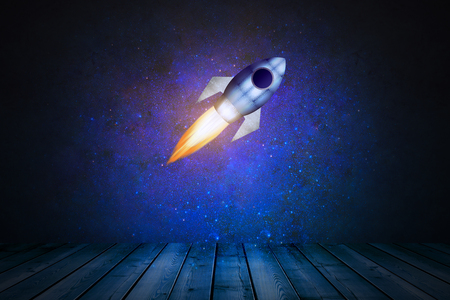 timber floor: Dark blue space stage with launching rocket. Startup concept. 3D Rendering