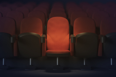 Close up of illuminated red movie theater armchair. Show concept. 3D Rendering