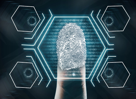 Futuristic fingerprint scanning device biometric security system. Innovation concept. 3D Rendering Imagens - 83815933