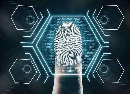 Sistema de seguridad biométrico futurista del dispositivo de la exploración de la huella digital. Concepto de innovación. Representación 3D