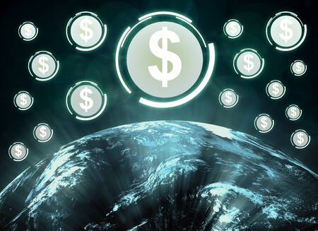 Abstract background with globe and dollar signs. Money and global marketing concept. 3D Rendering. Elements of this image furnished by NASA Stock fotó