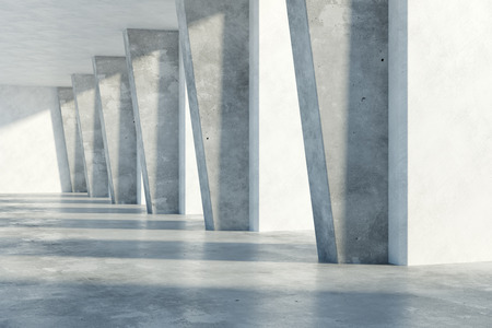 office building: Grunge concrete room interior with daylight. 3D Rendering Stock Photo
