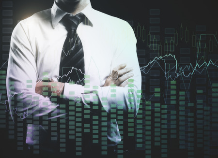 Businessman with folded arms and abstract forex chart. Accounting, trade and investment concept. Double exposure photo