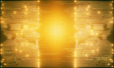 technology: Glowing bright yellow circuit background with copy space. Technology, innovation and future concept. 3D Rendering