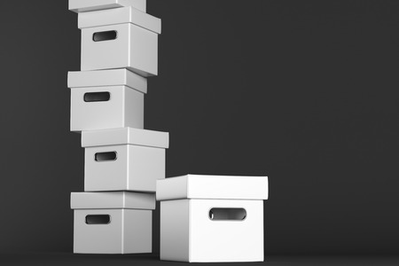 case: Stacks of white boxes on dark background. Shipping concept. 3D Rendering