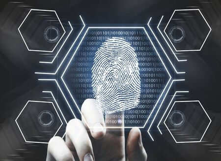 Futuristic fingerprint scanning device biometric security system. Future concept. 3D Rendering Stock Photo