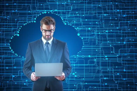 Handsome businessman using laptop on abstract cloud computing concept background. 3D Rendering