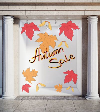 autumn background: Storefront, window display, glass showcase exterior with concrete columns and creative autumn leaves, fall foliage sale sketch drawing in daylight. Seasonal concept. 3D Rendering