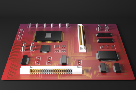 hardware: Front view of red motherboard on dark background. Technology, circuit, equipment, processor concept. 3D Rendering