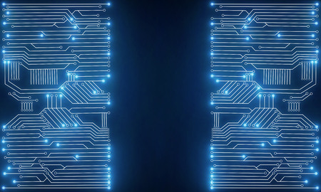 hardware: Glowing bright blue circuit backdrop with copy space. Technology, innovation and future concept. 3D Rendering