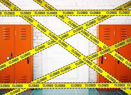 murder scene: School corridor interior lockers background with yellow tape and the inscription - closed. Protection crime scene, repairs concept. 3D Rendering