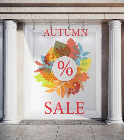 advertising column: Storefront, window display, glass showcase exterior with concrete columns and creative autumn leaves, fall foliage sale sketch drawing in daylight. Discount concept. 3D Rendering