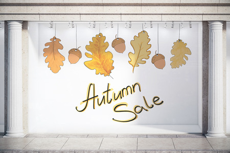 Storefront, window display, glass showcase exterior with concrete columns and creative autumn leaves, fall foliage sale sketch drawing in daylight. Emblem concept. 3D Rendering
